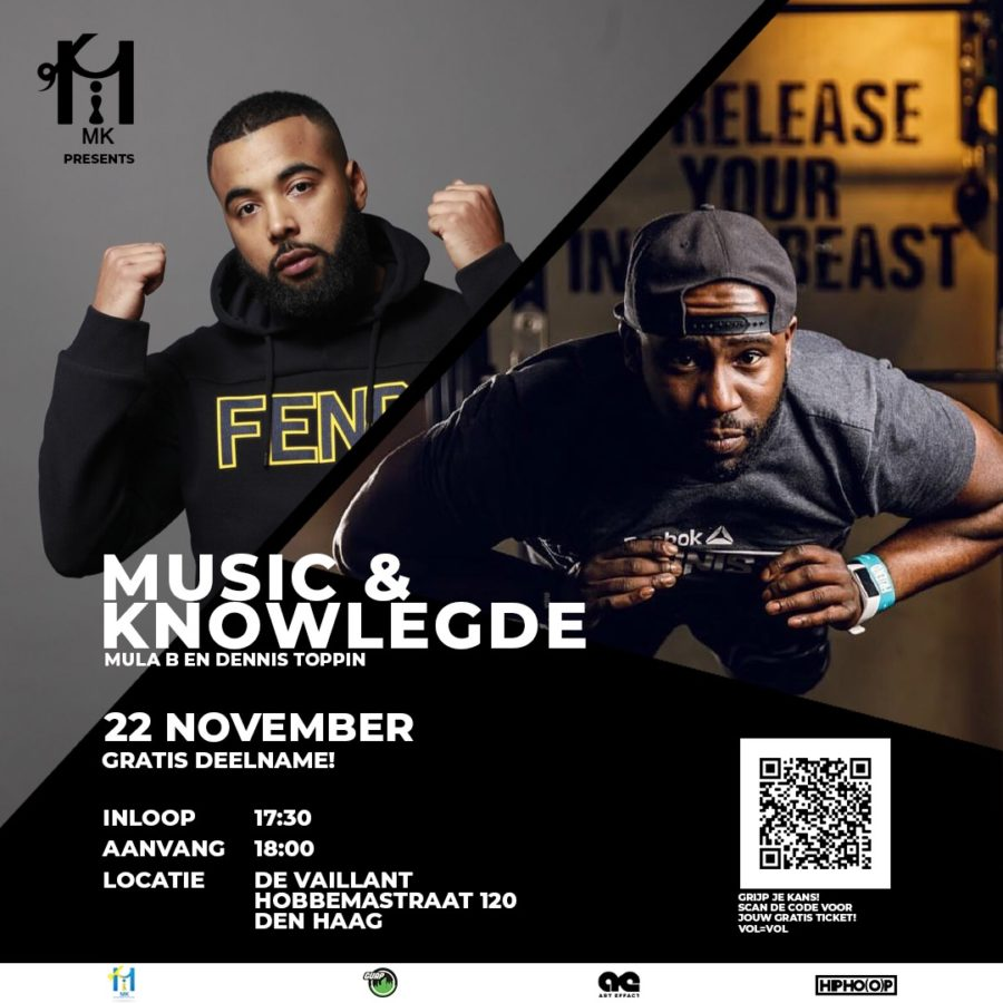 Music & Knowledge flyer. Mula B & Dennis Toppin
